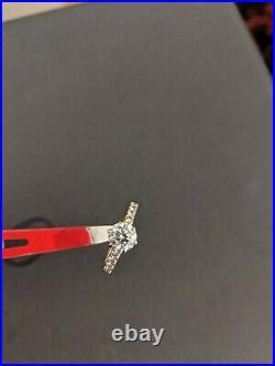 1.04 Carat Tdw Diamond Engagement Ring. 84ct Center And. 20 Side 18k Yg Cert