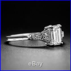 1.24cts white emerald cut diamond engagement wedding 14k white gold vintage ring