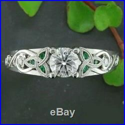 1.50ct Round Cut Diamond Celtic Solitaire Engagement Wedding Ring 14k White Gold