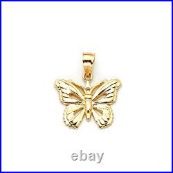 10K Real Yellow Gold Mens Womens 1.70 Gram Butterfly Pendant Charm