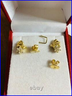 14K Fine Saudi Real Gold Womens With Real Diamond Earring 4.11g Fast Shipping