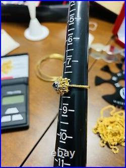 14K Fine Yellow Saudi Gold Real Pretty Diamond Ring 7.5- 8 Blue Sapphire 3.51g
