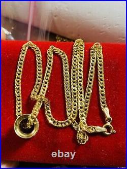 18K 750 Fine Gold 16 Long Womens Barrel Necklace 3.2mm 5.7g Choker Triclors