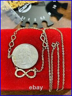 18K 750 Fine Gold 18 Long Kids or Womens Infinity Necklace 2.31g 1.6mm