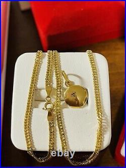 18K 750 Fine Real Gold 16 Long Blue Eyes Kids or Womens Set Necklace 3mm 4.2g