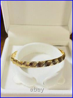 18K 750 Fine Real Saudi Gold 6.5-7.5 Long Womens Charm Bangle With 4.7g 6.5mm
