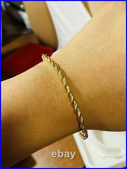 18K 750 Fine Real Saudi Gold 6.5-7 Long Womens Bangle With 6.6g 3.2mm Small/Med