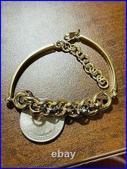 18K 750 Fine Real Saudi Gold 7.5-8 Mens Womens Cuban Bracelet With 10.82g 10mm