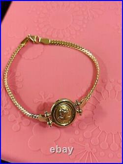 18K 750 Fine Real Saudi Gold 7.5 Long Womens Cameo Bracelet 4.9g 3.2mm Fits S/M
