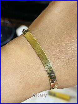 18K 750 Fine Real Saudi Gold 7.5 Long Womens Herringbone Bracelet With 6.5mm 6g