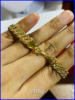 18K 750 Fine Real Saudi Gold 7 Long Womens Rope Bracelet With 8mm 7.73 grams