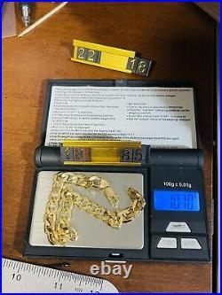 18K 750 Fine Real Saudi Gold 8.5 Long Mens Womens Cuban Bracelet With 8mm 10.7g