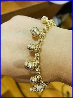 18K 750 Fine Real Saudi Gold 8 Long Womens Ball Beads Bracelet With 14.7g 5mm