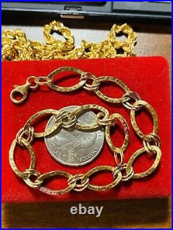 18K 750 Fine Real Saudi Gold 8 Long Womens Charm Bracelet With 10mm 3.81 grams