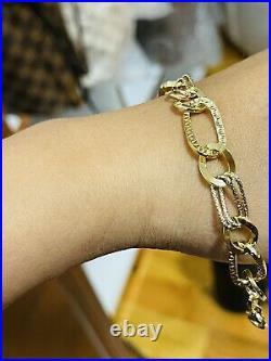 18K 750 Fine Real Saudi Gold 8 Long Womens Charm Bracelet With 10mm 4.43grams