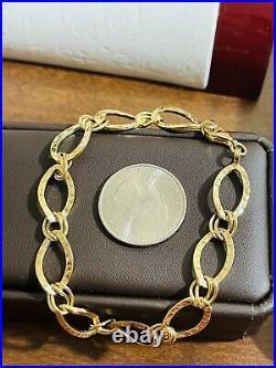 18K 750 Fine Real Saudi Gold 8 Long Womens Charm Bracelet With 11mm 4.31grams