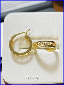 18K 750 Fine Real Saudi Gold Womens Hoops Earring With 3.3 grams Fast Ship