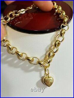 18K 750 Fine Real Saudi Real UAE Gold 7 Long Womans Heart Bracelet 6mm 5.62g