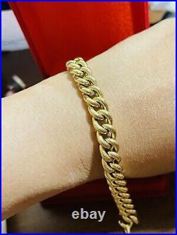 18K 750 Fine Real Saudi UAE Gold 7.5 Long Womans Cuban Bracelet 9mm Wide 7.85g
