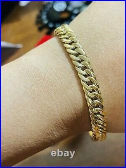 18K 750 Fine Real Saudi UAE Gold 9 Long Mens Size Cuban Bracelet 8mm 6.52 grams
