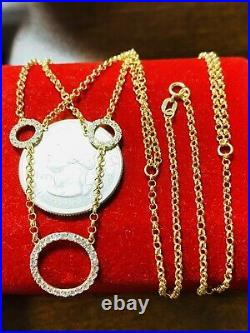 18K 750 Fine Saudi Gold 18/20 Long Womens Round Stone Necklace With 2.97g 1.6mm