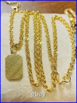 18K 750 Fine Saudi Gold 18 Long Womens Bar Necklace With 4.6g 2.5mm Fast-ship