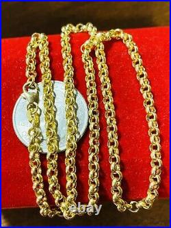 18K 750 Fine Saudi Gold 18 Long Womens Rolo Chain Necklace With 8.0g 3.5mm