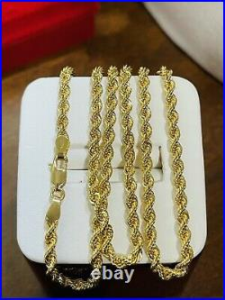 18K 750 Fine Saudi Gold 20 Long Womens Chain Rope Necklace With 7.1g 3.2mm