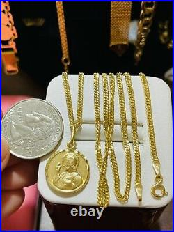 18K 750 Fine Saudi Gold 20 Long Womens Mother & Child Necklace With 5.12g 2.5mm