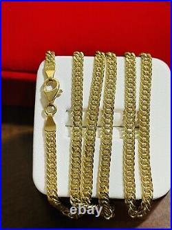 18K 750 Fine Saudi Gold 22 Long Men Womens Cuban Chain Necklace With 9.45g 3.8mm