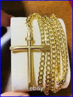 18K 750 Fine Saudi Gold 22 Long Mens Womens Cross Necklace With 10.3g 4mm Wide