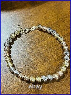 18K 750 Fine Saudi Gold 7.5 Long Womens Bead Ball Bracelet With 7.23g 5mm Wide