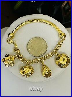 18K 750 Fine Saudi Gold 7.5 Long Womens Heart Charm Bracelet With 13.62g 4mm