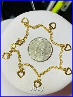 18K 750 Fine Saudi Gold 7.5 Long Womens Heart Charm Bracelet With 5.13g 2.5mm