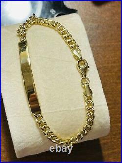 18K 750 Fine Saudi Gold 7 Long Womens Bar Bracelet With 6.8g 5mm Wide Fast-ship