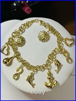 18K 750 Fine Saudi Gold 7 Long Womens Heart Charm Bracelet With 11.5g 5mm Wide