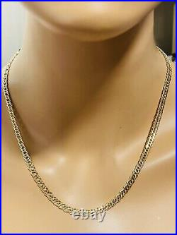 18K 750 Fine Saudi Gold Womens 20Long Curb Chain Necklace 4.5mm 9.93g FastShip