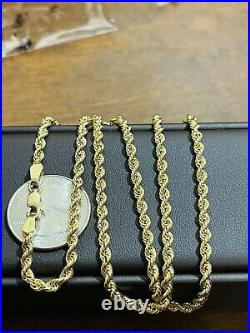 18K 750 Fine Saudi Gold Womens 20Long Rope Chain Necklace 3.2mm 7.1g FastShip
