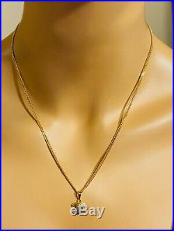 18K 750 Fine Saudi Gold Womens Set Necklace Earring With 20 2 Mm Wide