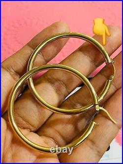 18K 750 Fine Saudi Real Gold Womens Hoop Earring Set Large 1.8 long 3.53g 3.2mm