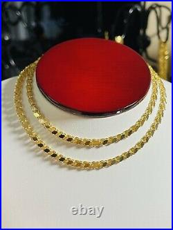 18K 750 Fine Saudi Yellow Gold 20Long Womens Damascus Chain Necklace 8.65g 4mm