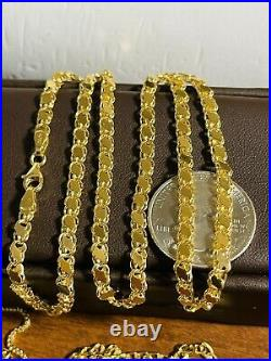 18K 750 Fine Saudi Yellow Gold 22 Long Mens Womens Damascus Necklace 9.24g 4mm