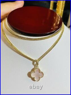 18K 750 Fine Saudi Yellow Gold 22 Long Womens Flower Set Necklace 6.12g 2.5mm