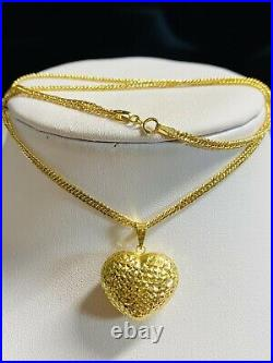 18K 750 Fine Yellow Gold 18 Long Heart Womens Necklace 2.5mm 5.11g Fast Ship