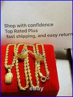 18K 750 Fine Yellow Gold 18 Long Kids or Womens Necklace & Earring 2.5mm 6g