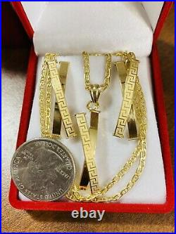 18K 750 Fine Yellow Gold 20 Long X Set Womens Necklace & Earring 2.5mm 6.8g
