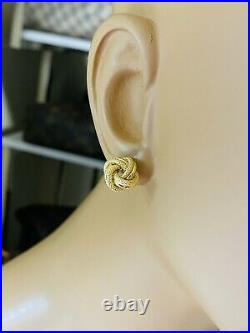 18K 750 Fine Yellow Real Gold 18 Womens Flower Necklace & Earring 2.5mm 6.8g