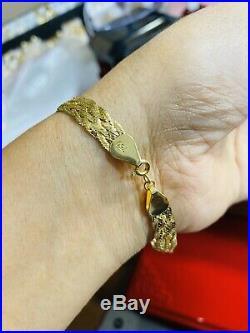 18K 750 Fine Yellow Saudi Gold Unisex Braided Bracelet 7.5 Long USA Seller 8mm