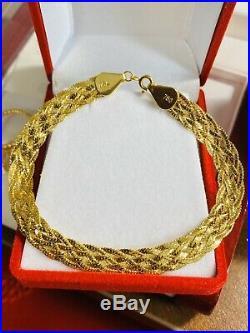 18K 750 Gold Fine Yellow Gold Womens Bracelet 7.5 Long 8mm USA Seller