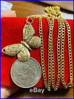 18K 750 Saudi Gold Womens Butterfly Necklace With 18Long 2.5mm US Seller